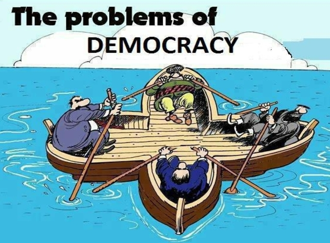 cartoon democracy problems illustration 4 people sitting in the same boat but rowing in a other direction