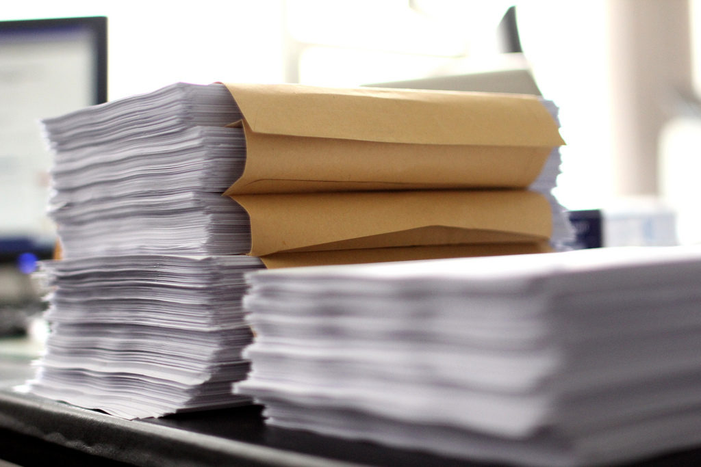 Lot of paper on a office table
