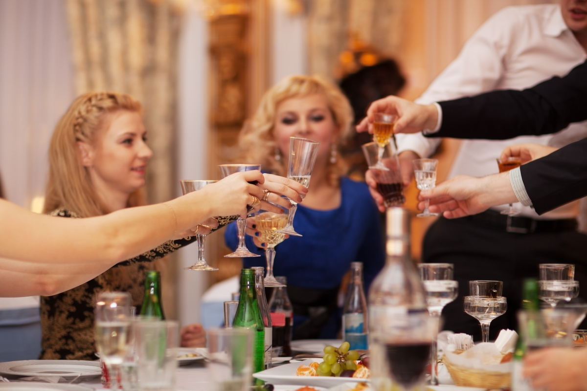 Group of people drinking wine together